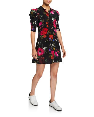 Jem Floral Gathered-Sleeve Shirtdress