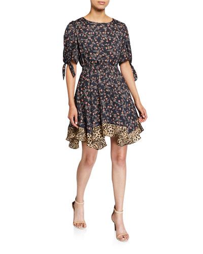 Lia Floral Short-Sleeve Dress