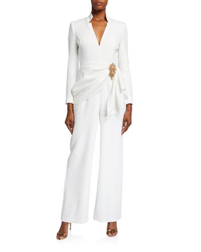 V-Neck Long-Sleeve Drape Front Jumpsuit w/ Bead Embellishment
