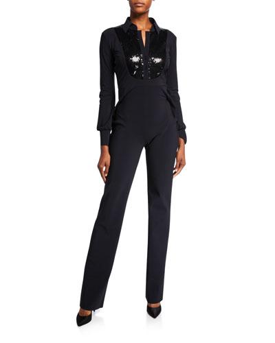 Sequin-Bib Long-Sleeve Tux Jumpsuit