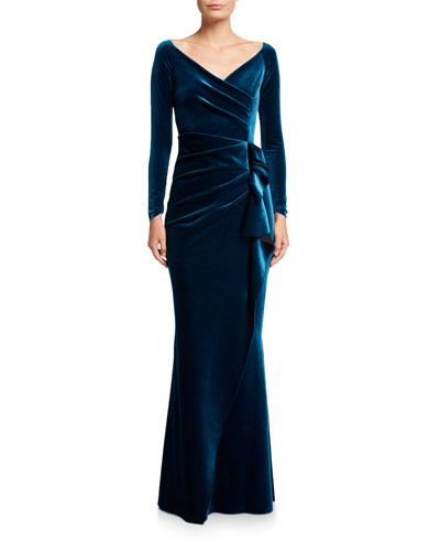 V-Neck Long-Sleeve Side Drape Velvet Wrap Gown