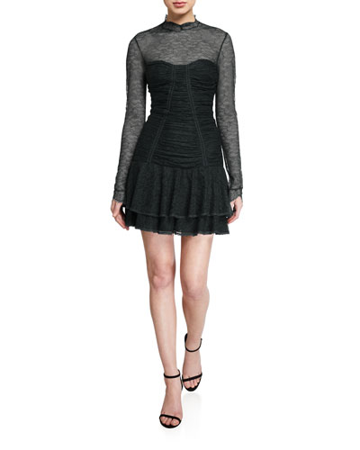 Mixed Silk Lace Mock-Neck Ruched Dress
