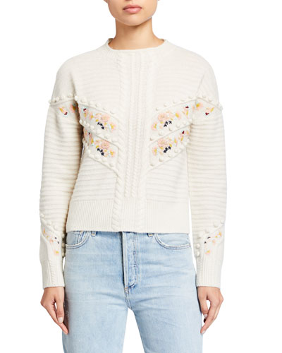 Embroidered Mock-Neck Wool Sweater
