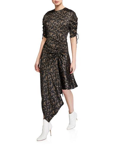 Hammered Silk Ruched Asymmetrical Dress