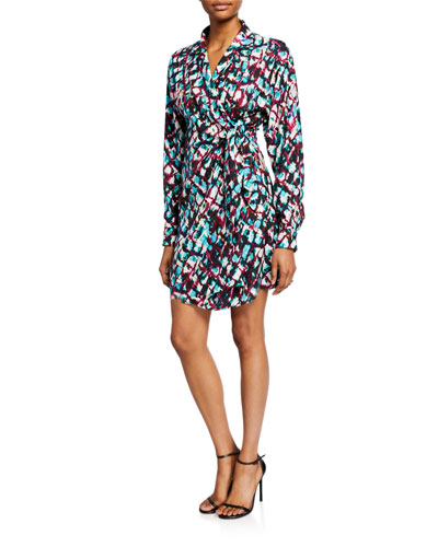 Mari Printed Short Wrap Dress