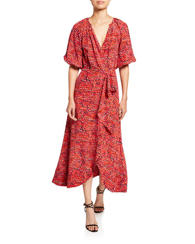Olivia Printed V-Neck Cutout-Back Draped-Front Dress