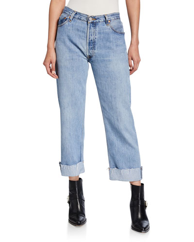 90s Loose Straight-Leg Cuffed Jeans
