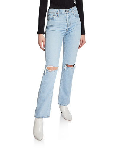 High-Rise Distressed Rigid Straight-Leg Jeans
