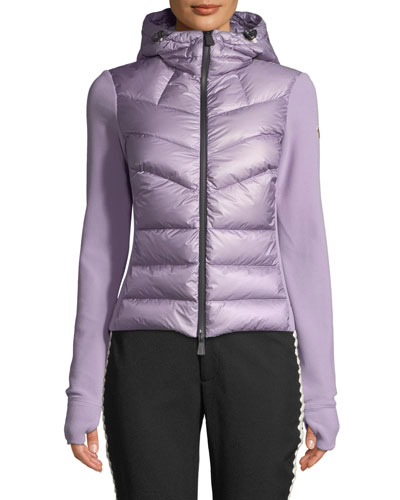 Combo Jacket w/ Fleece Knit & Chevron Quilted Front