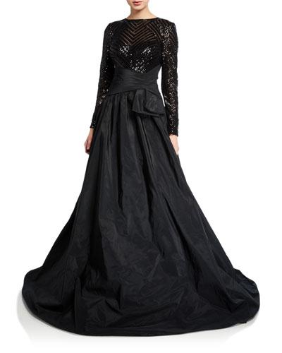 Beaded Lace-Bodice Long-Sleeve Taffeta Gown