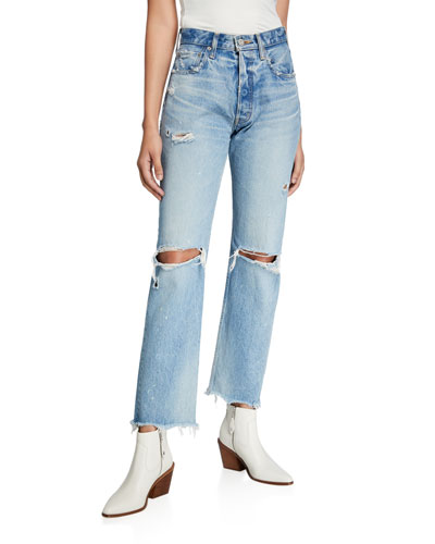 Odessa Wide-Leg Distressed Jeans