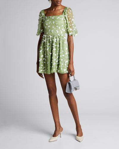 Monika Floral Sequined Short Dress