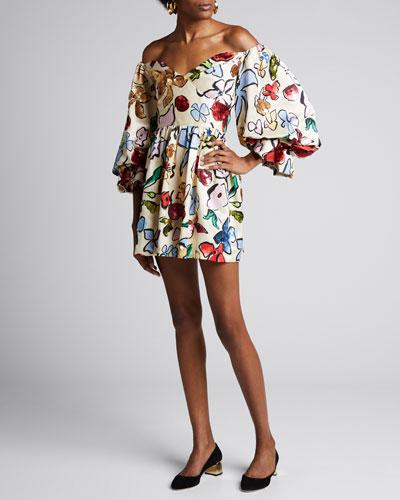 Evelina Sustainable Embellished Floral Dress