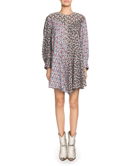 Lissande Crewneck Long-Sleeve Mixed-Print Mini Dress
