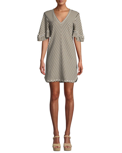 Striped Flutter-Sleeve V-Neck Short Dress