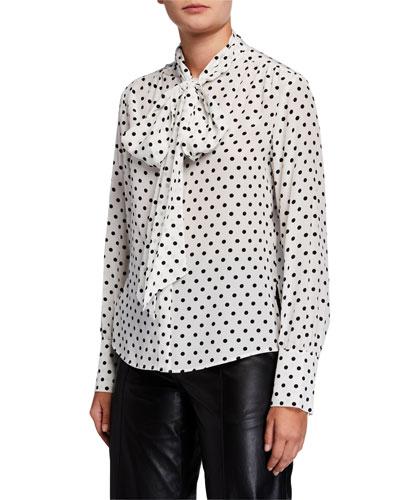 Polka Dot Tie-Neck Long-Sleeve Silk Blouse