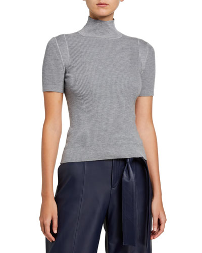 Short-Sleeve Turtleneck Rib Sweater