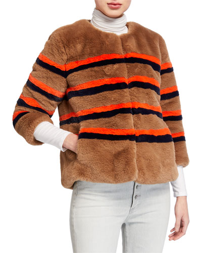 The Bailey Striped Faux-Fur Jacket