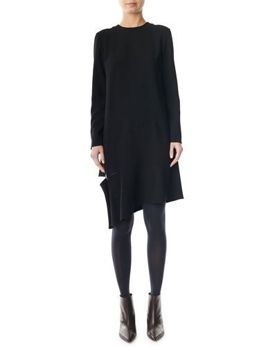 Triacetate Shift Dress with Detached Hem