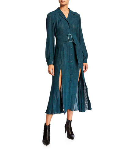 Number 10 Belted Dot-Print Long-Sleeve Dress