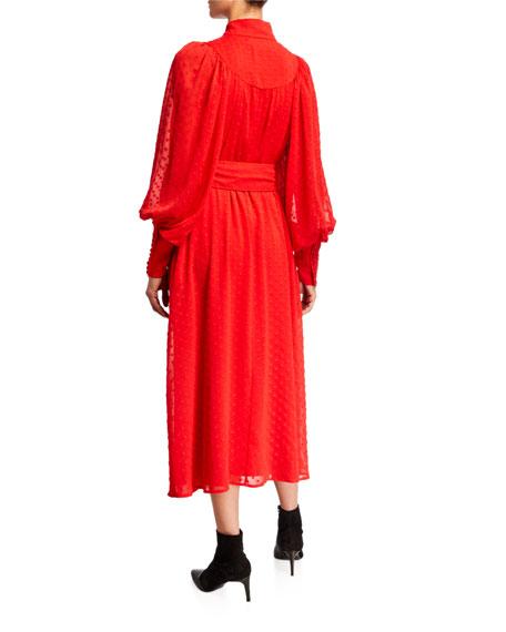 Number 37 Belted High-Neck Embroidered Dress