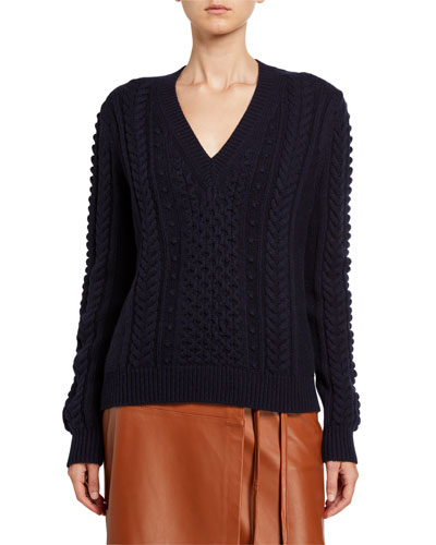 V-Neck Cable-Knit Wool-Blend Sweater
