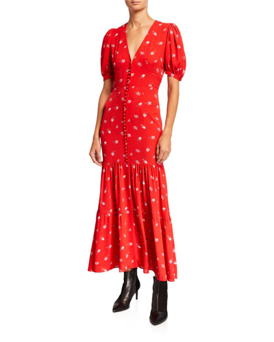 Number 20 Floral Button-Front Long Dress