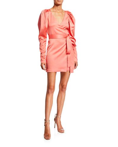 Number 31 Puff-Sleeve Short Wrap Dress