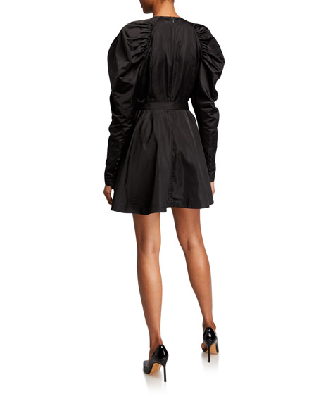#26 Belted Puff-Sleeve Satin Mini Dress
