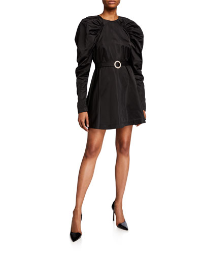 #26 Belted Puff-Sleeve Satin Mini Dress