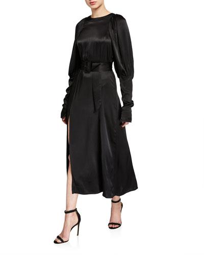 Number 29 Belted Slit Long-Sleeve Dress