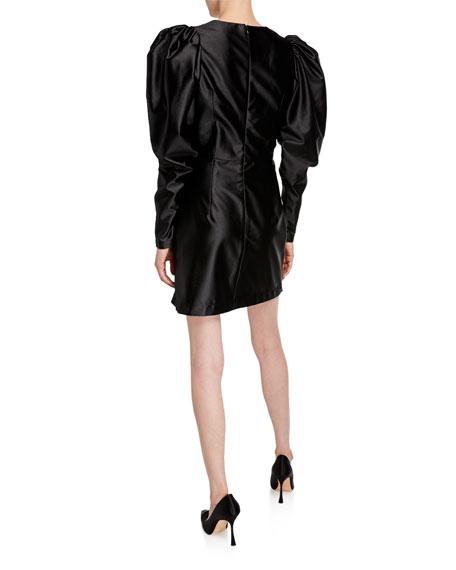 Puff-Sleeve Satin Cocktail Dress