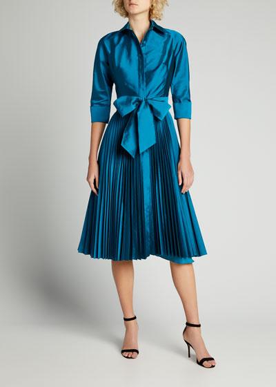 3/4-Sleeve Pleated Skirt Taffeta Shirtdress w/ Bow