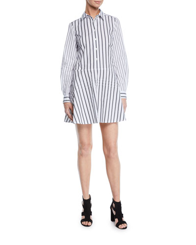 Long-Sleeve Striped Cotton Shirt Dress