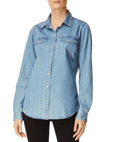 Perfect Denim Button-Front Long-Sleeve Shirt