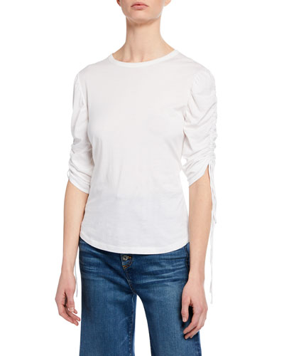 Natalia Ruched-Sleeve Crewneck Top