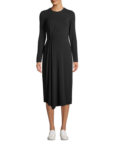 Long-Sleeve Side-Drape Jersey Midi Dress