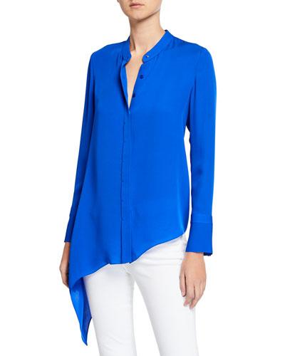 Asifa Button-Down Long-Sleeve Asymmetric Silk Blouse