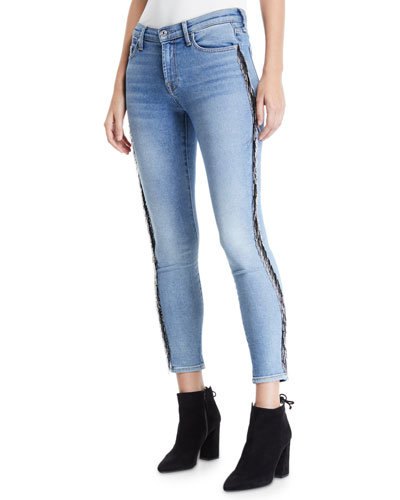 5d26d28f3c3e Mid-Rise Ankle Skinny Jeans with Beaded Fringe Quick Look. 7 For All Mankind