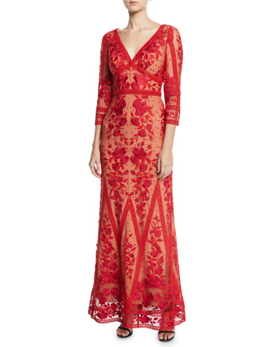 Guipure Lace V-Neck 3/4-Sleeve Gown