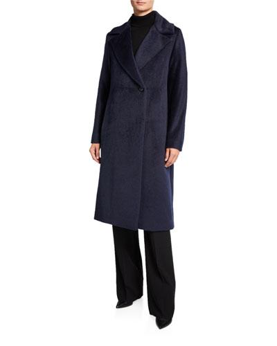 Long Asymmetric-Button Pea Coat