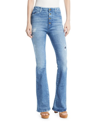 093fad8fc1a Friya Sharon Gene Mid-Rise Flare-Leg Jeans with Exposed Fly