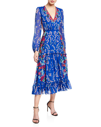 5382fc8e386 Devon Floral-Print Long-Sleeve Tiered Dress Quick Look. Saloni