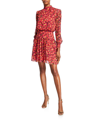 Isabel Printed High-Neck Short Dress