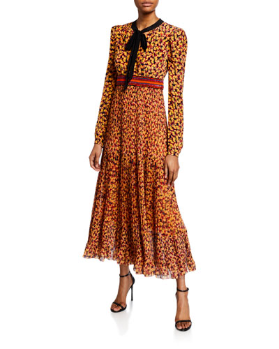 Talitha Printed Long-Sleeve Plisse Dress