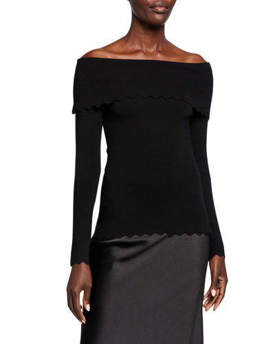 Fold-Over Off-the-Shoulder Long-Sleeve Scallop Top