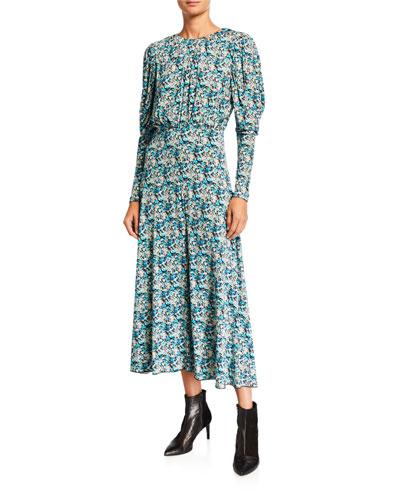 Number 57 Printed Long-Sleeve Open-Back Dress