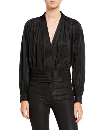 Overlap Long-Sleeve Striped Silk Top