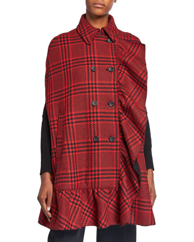 Prince of Wales Double Breasted Wool Coat with Ruffles
