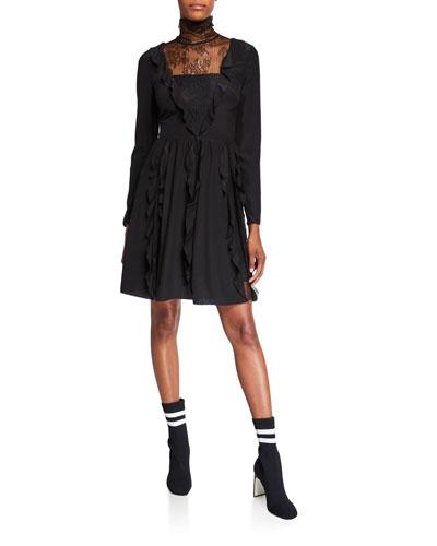 Turtleneck Long-Sleeve Silk Crepe De Chine Dress